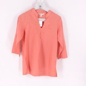 NWT Krazy Kat Coral Embroidered Tunic Top S